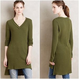 Anthropologie Deletta Green Ribbed Tunic Size L